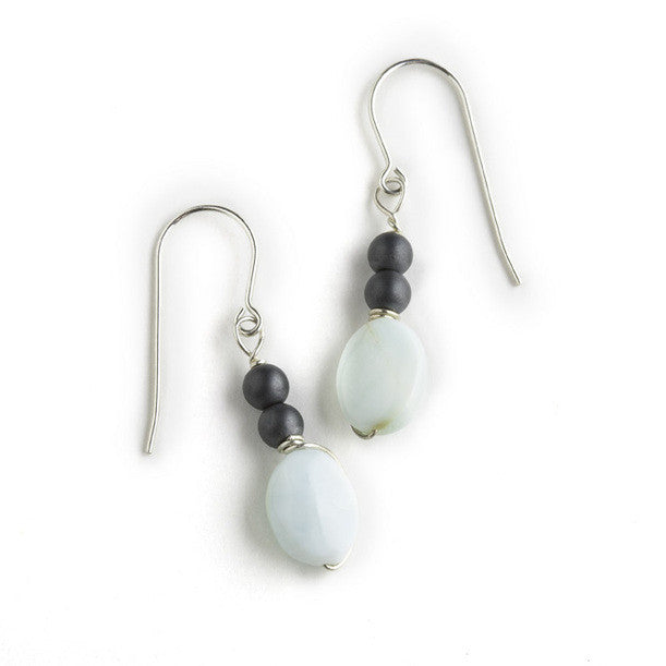 Tessoro Earrings - Peruvian Opal and Hematite