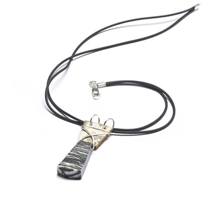 Tessoro Necklace - Natural Birchbark, Picasso Jasper and Hand Hammered Sterling Silver