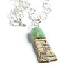 Tessoro Necklace - Natural Birchbark, Chrysoprase and Hand Hammered Sterling Silver