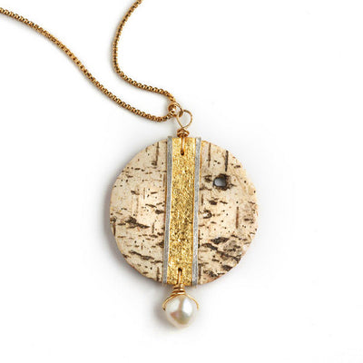 Tessoro Necklace - 23K Gold Leaf On Natural Birchbark, Hand Hammered Sterling Silver and Freshwater Pearl