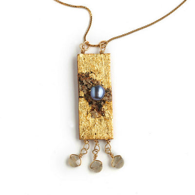 Tessoro Necklace - 23K Gold Leaf On Natural Birchbark, Labradotrite and Freshwater Pearl