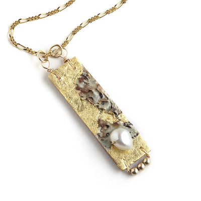 Tessoro Necklace - 23K Gold Leaf On Natural Birchbark, 14K Gold Filled Beads and Freshwater Pearl