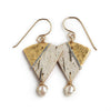 Tessoro Earrings - 23K Gold Leaf On Natural Birchbark and Hand Hammered Sterling Silver and Freshwater Pearls