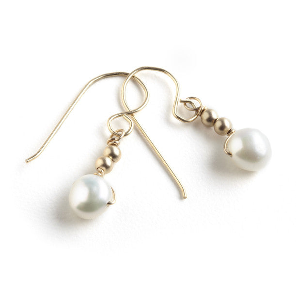 Tessoro Earrings - 14K Gold Filled Beads and Freshwater Pearl