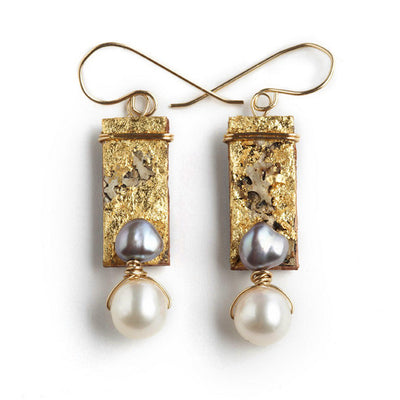 Tessoro Earrings - 23K Gold Leaf On Natural Birchbark and Freshwater Pearls