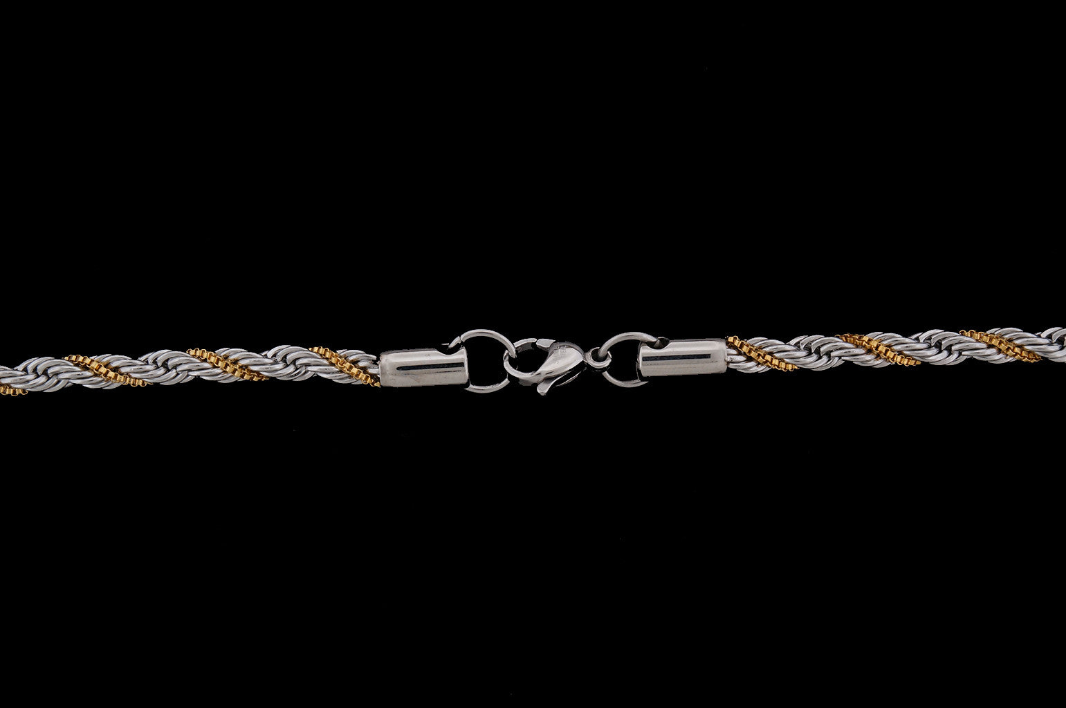 Chisel - Twisted Gold-Plated Stainless Steel Box & Stainless Steel Rope Chain - 4.0mm