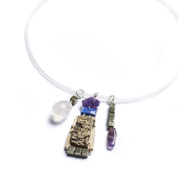 Tessoro Necklace - Natural Birchbark, Purple Amethyst, Lapis Lazuli, Pyrite and Rose Quartz Charms