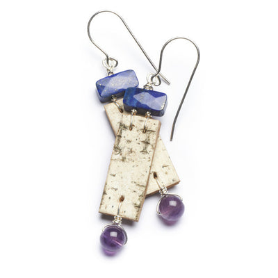 Tessoro Earrings - Natural Birchbark, Lapis Lazuli and Purple Amethyst