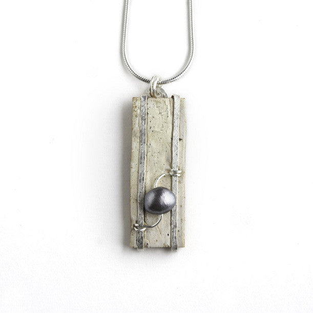 Tessoro Necklace - Natural Birchbark, Hand Hammered Sterling Silver and Freshwater Pearl