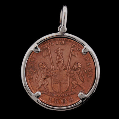 Admiral Gardner Shipwreck Jewelry - 10 Cash Piece Pendant with Stainless Steel Frame Front