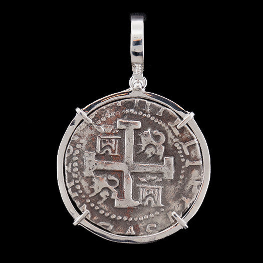 Atocha Jewelry - 8 Reale Silver Coin Pendant w/Sterling Silver Frame - Front