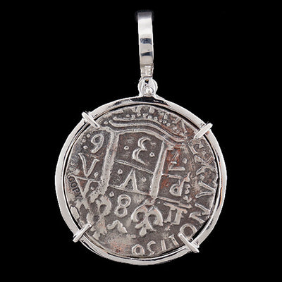 Atocha Jewelry - 8 Reale Silver Coin Pendant w/Sterling Silver Frame - Bacl