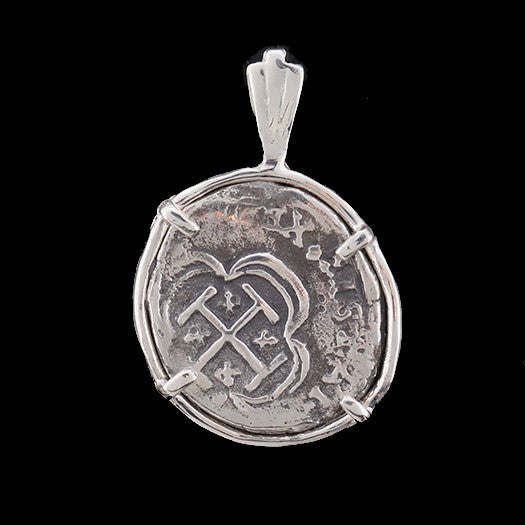 Atocha Jewelry - 1 Reale Silver Coin Pendant with Sterling Silver Frame - Front