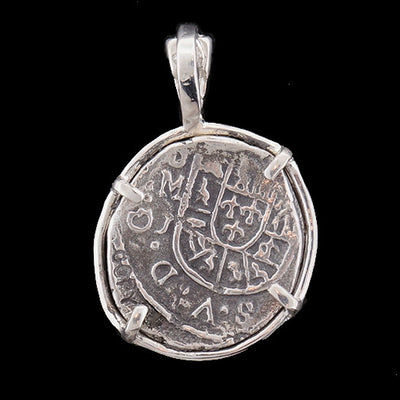 Atocha Jewelry - 1 Reale Silver Coin Pendant with Sterling Silver Frame - Back