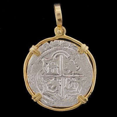 Atocha Jewelry - 2 Reale Silver Coin Pendant Front