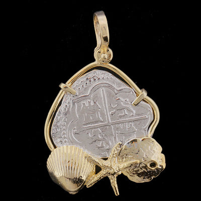 Atocha Jewelry - Medium Odd Shape Silver Coin with Mixed Seashells Pendant Front