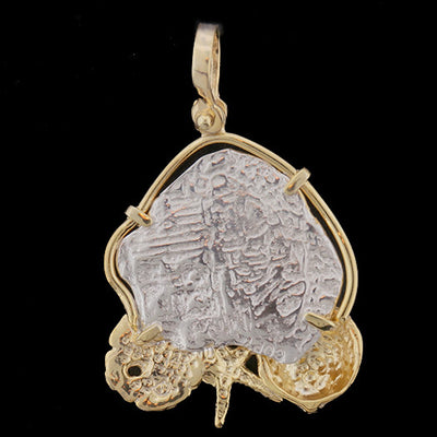 Atocha Jewelry - Medium Odd Shape Silver Coin with Mixed Seashells Pendant Back