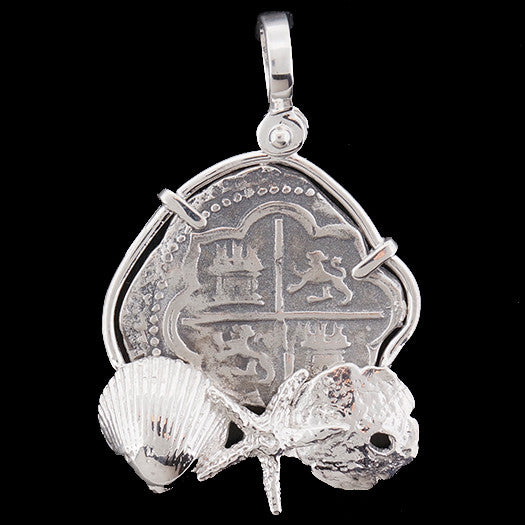 Atocha Jewelry - Medium Odd Shape Silver Coin with Mixed Seashells Pendant - Front