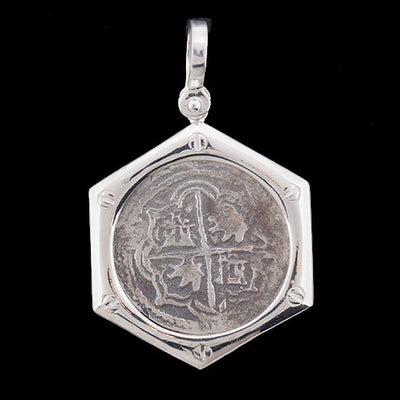 Atocha Jewelry - 2 Reale Silver Coin Porthole Pendant - Front