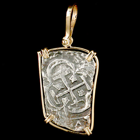 Atocha Jewelry - Long 8 Reale Silver Coin Pendant Front