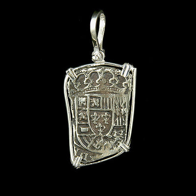 Atocha Jewelry - Long 8 Reale Silver Coin Pendant Back