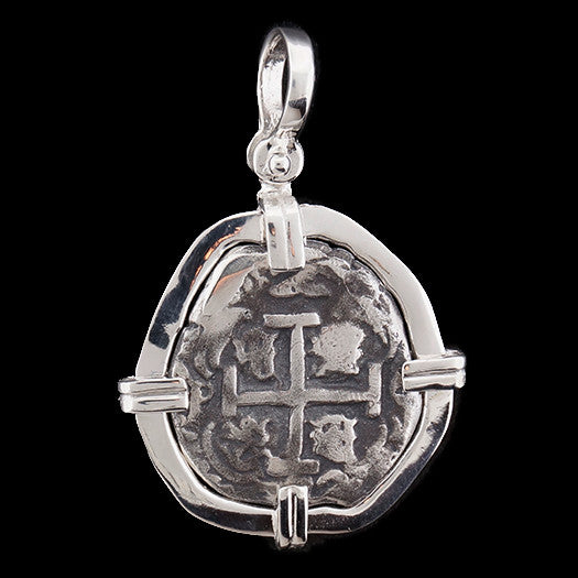 Atocha Jewelry - Odd Reale Silver Coin Pendant w/Sterling Silver Frame - Front