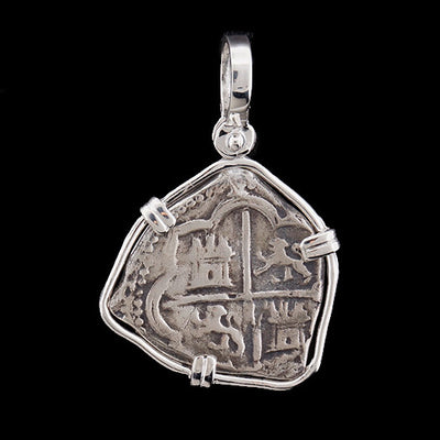 Atocha Jewelry - Tri Shape Silver Coin Pendant w/Sterling Silver Frame - Front