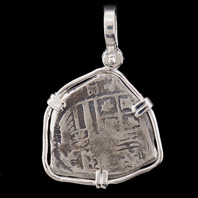 Atocha Jewelry - Tri Shape Silver Coin Pendant w/Sterling Silver Frame - Back