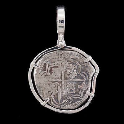 Atocha Jewelry - Odd Shape 2 Reale Silver Coin Pendant w/Sterling Silver Frame - Front