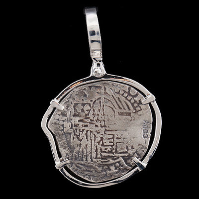 Atocha Jewelry - Odd Shape 2 Reale Silver Coin Pendant w/Sterling Silver Frame - Back