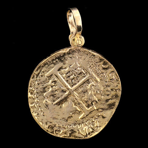 Coin only pendants virtual treasure chest atocha jewelry lima 8 escudo gold coin pendant front aloadofball Images