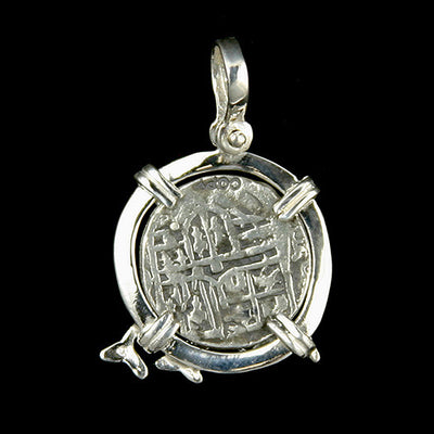 Atocha Jewelry - 2 Reale Silver Coin Dolphin Pendant Back