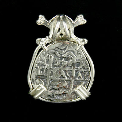 Atocha Jewelry - 2 Reale Silver Coin Skull and Crossbones Pendant Back