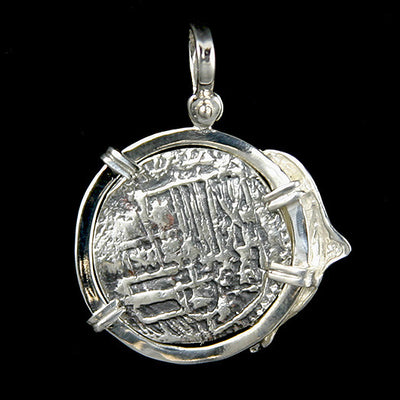Atocha Jewelry - 4 Reale Silver Dolphin Coin Pendant Back