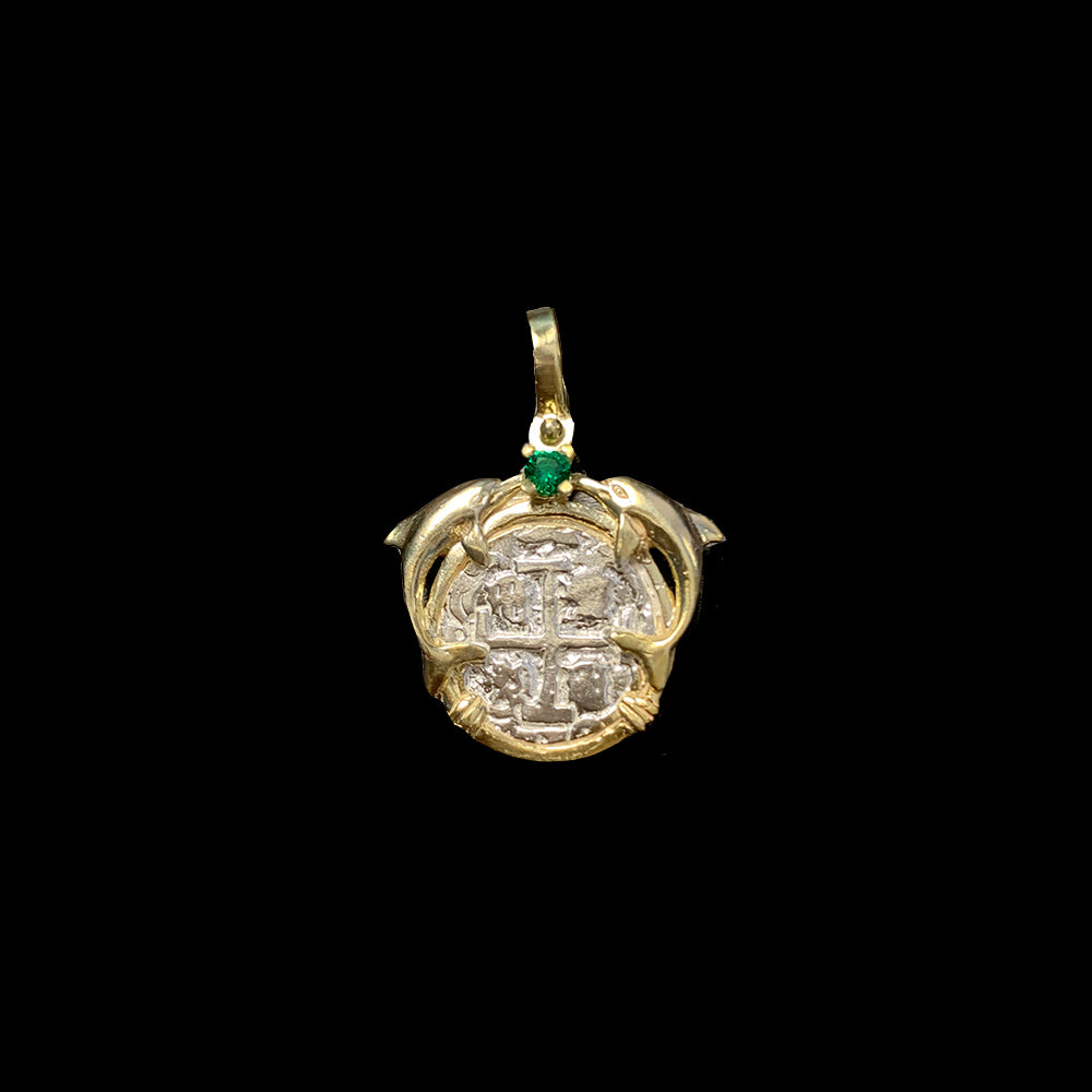 Atocha Jewelry - Small Silver Coin Kissing Dolphins with Emerald Pendant