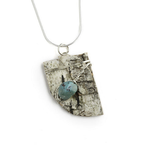 Tessoro Necklace - Natural Birchbark and Turquoise