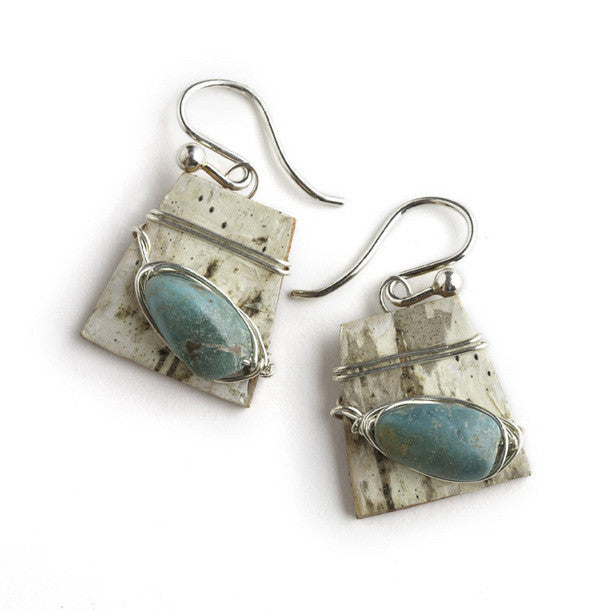 Tessoro Earrings - Natural Birchbark and Turquoise