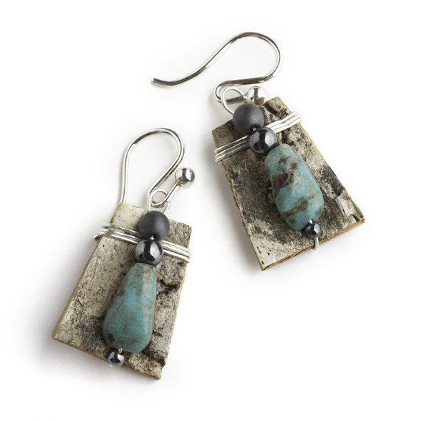 Tessoro Earrings - Natural Birchbark, Turquoise and Hematite