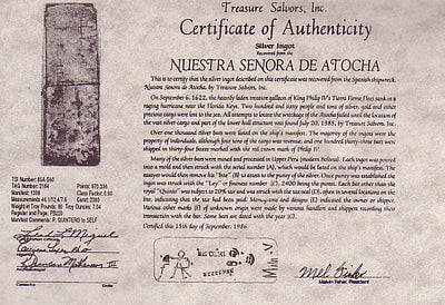 Atocha Certificate of Authenticity
