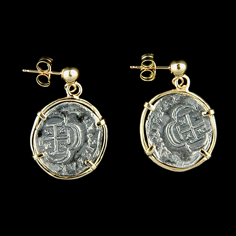 Atocha Jewelry - 1 Reale Silver Coin Earrings