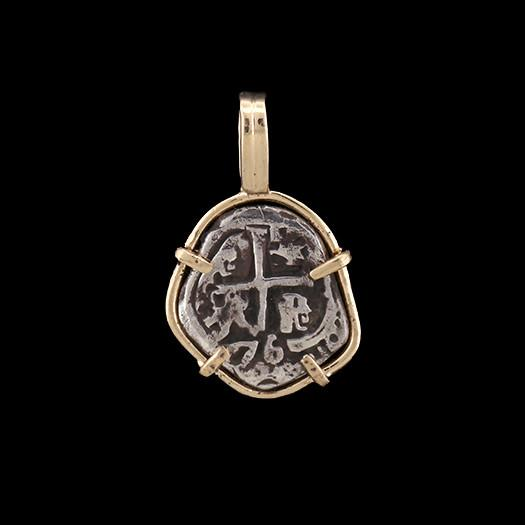 Atocha Jewelry - Odd 1 Reale Silver Coin Pendant with 14K Gold Frame