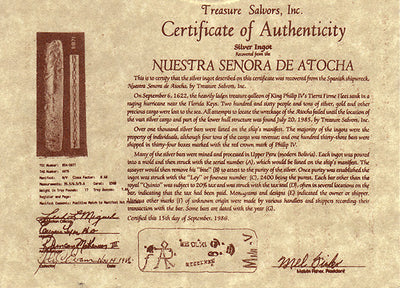 Atocha Certificate of Authenticity Back
