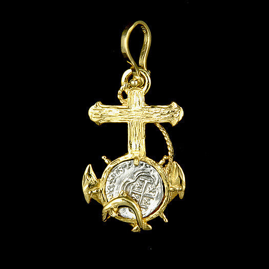 Atocha Jewelry - 1 Reale Silver Coin Anchor/Cross Pendant Front