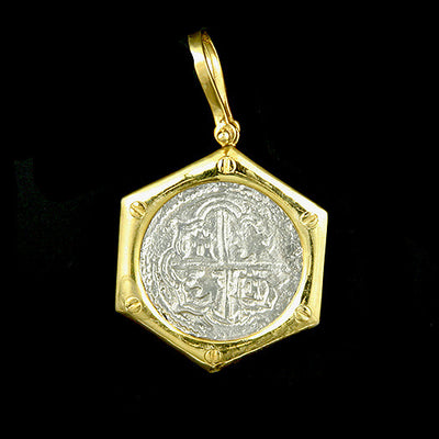 Atocha Jewelry - 2 Reale Silver Coin Porthole Pendant Front