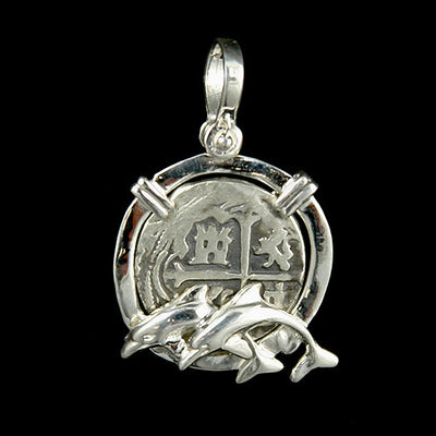 Atocha Jewelry - 2 Reale Silver Coin Dolphin Pendant Front