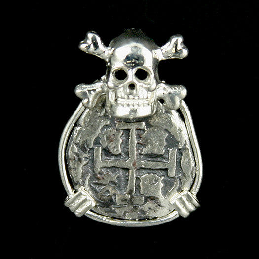 Atocha Jewelry - 2 Reale Silver Coin Skull and Crossbones Pendant Front
