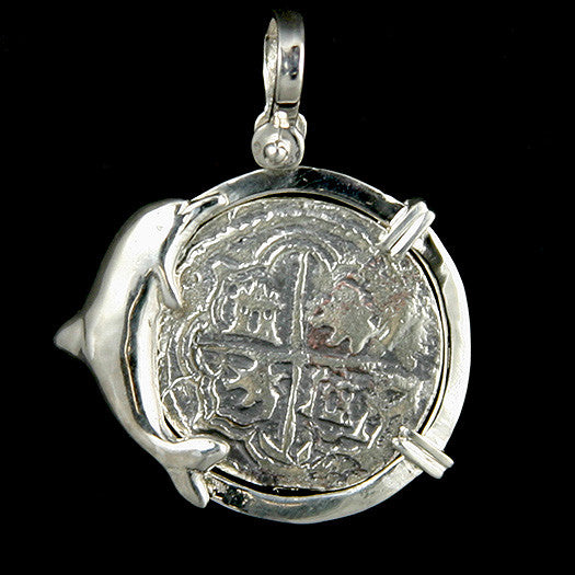 Atocha Jewelry - 4 Reale Silver Dolphin Coin Pendant Front