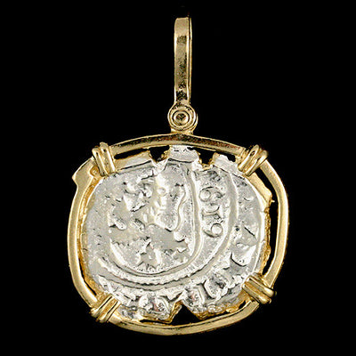 Atocha Jewelry - Dated Lion Silver Coin Pendant Front