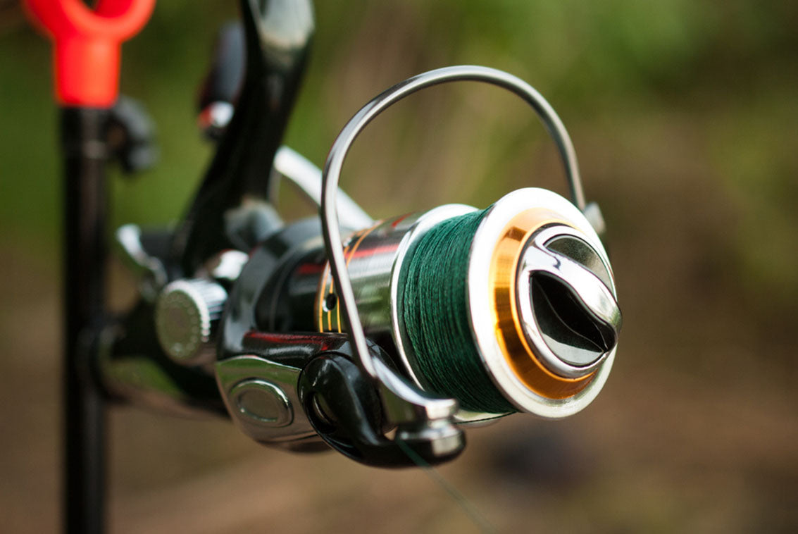 fishing reel with a braided line