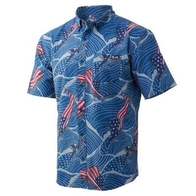 Huk Kona Fins n Stripes Short Sleeve